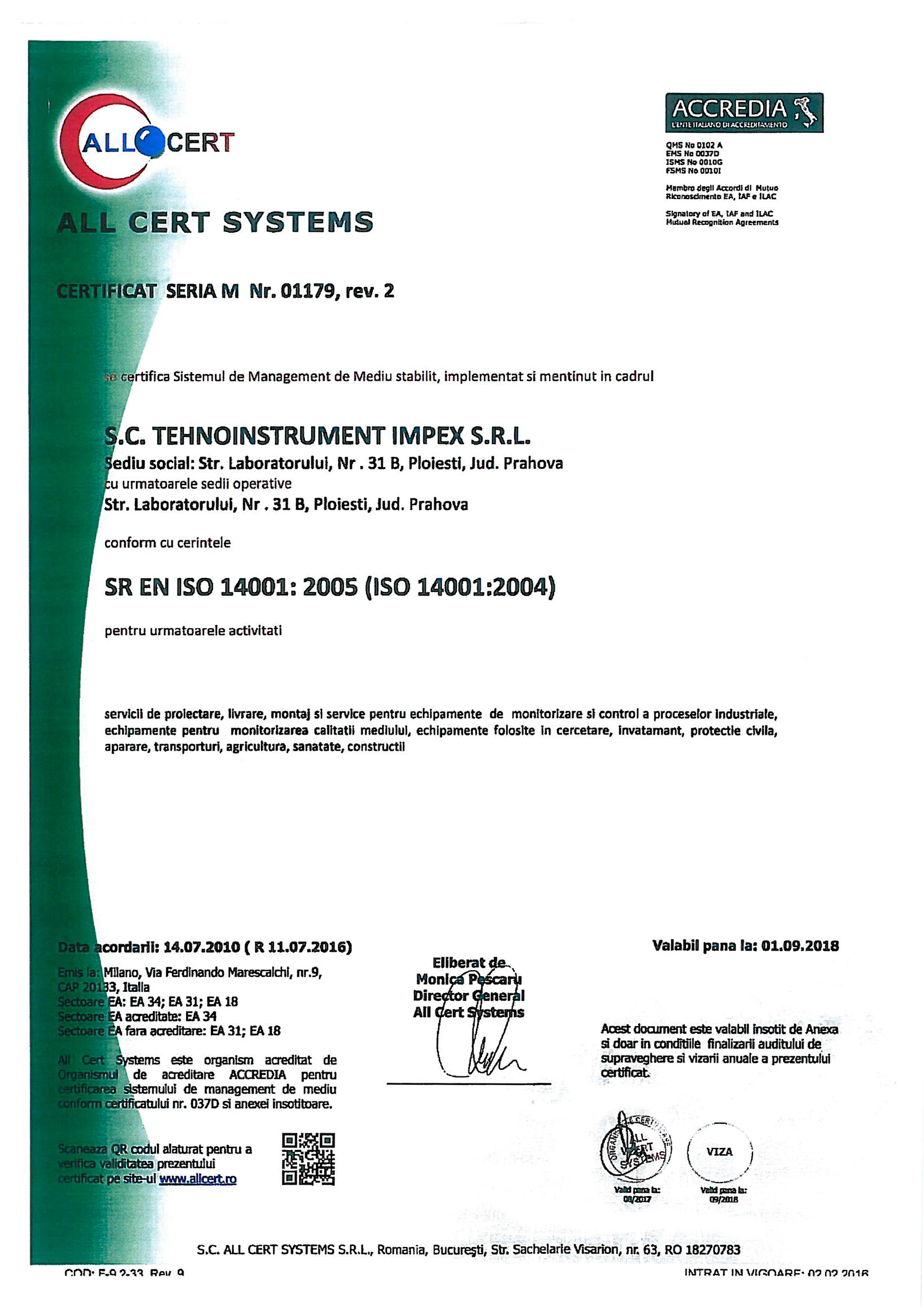 Certificare iso-14001