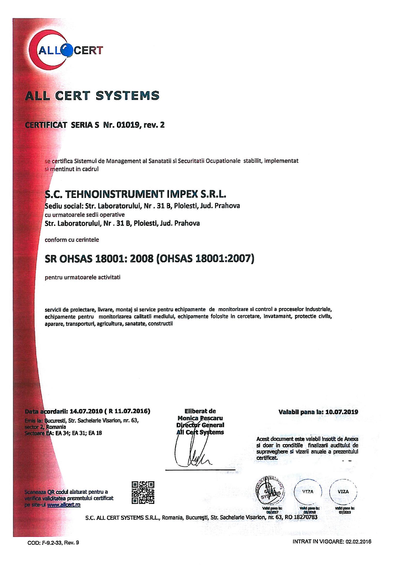 Certificare OHSAS